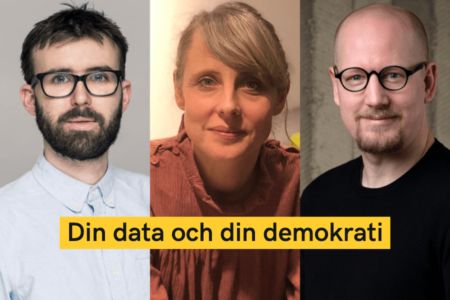 Panelen till evenemanget Post-Truth, Fake News, and Democracy: Johan Farkas, Ida Lithell och Carl Heath.