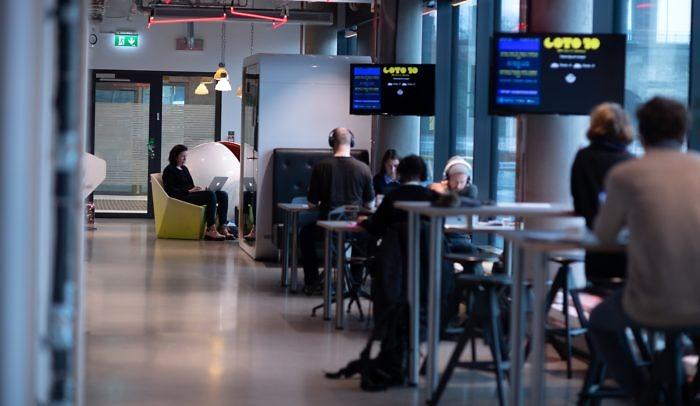 Vuxna arbetar vid sina datorer på Goto10.